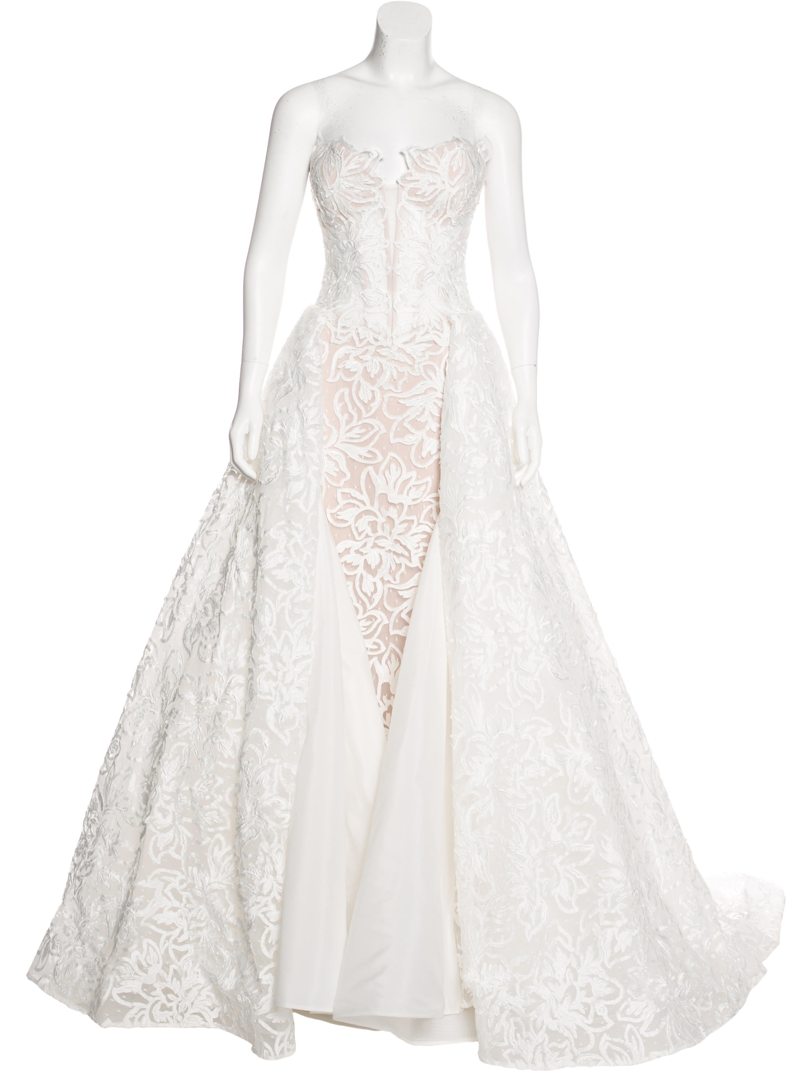 Pnina Tornai Strapless Lace Wedding Gown