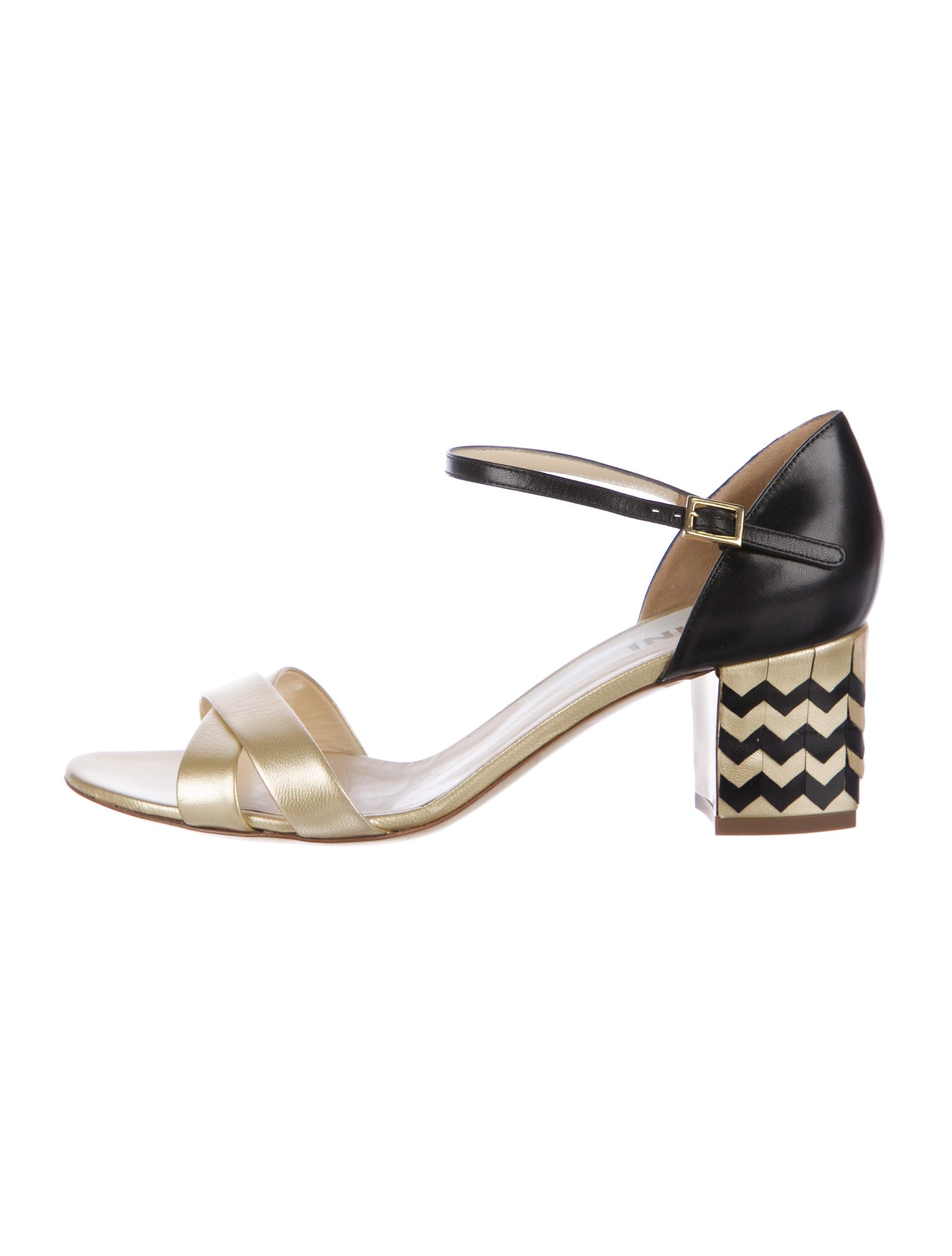 Pollini Metallic Chevron Sandals discount finishline buy cheap eastbay cheap sale Manchester uMhuJKc