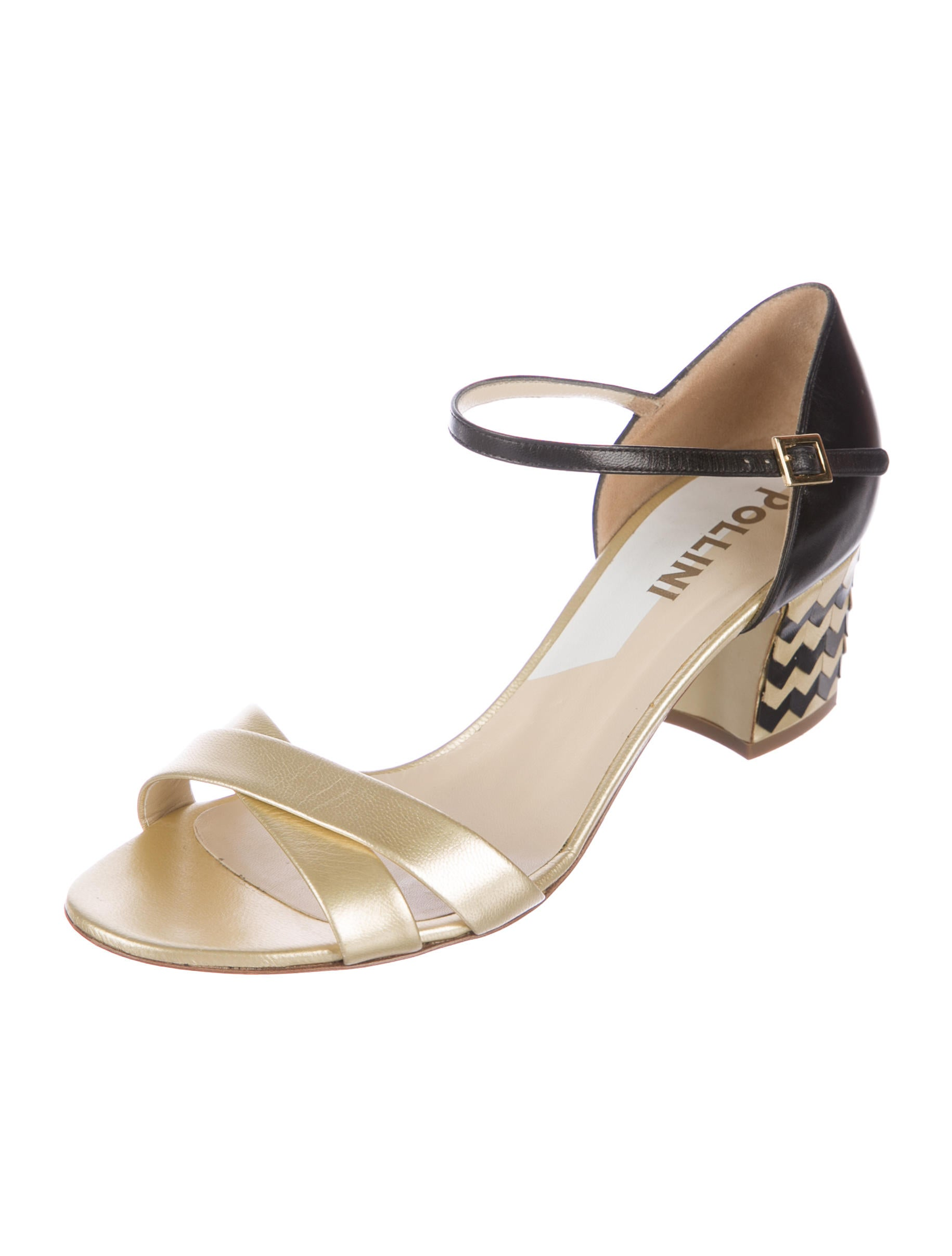Pollini Metallic Chevron Sandals cheap professional OWjFBtoYb