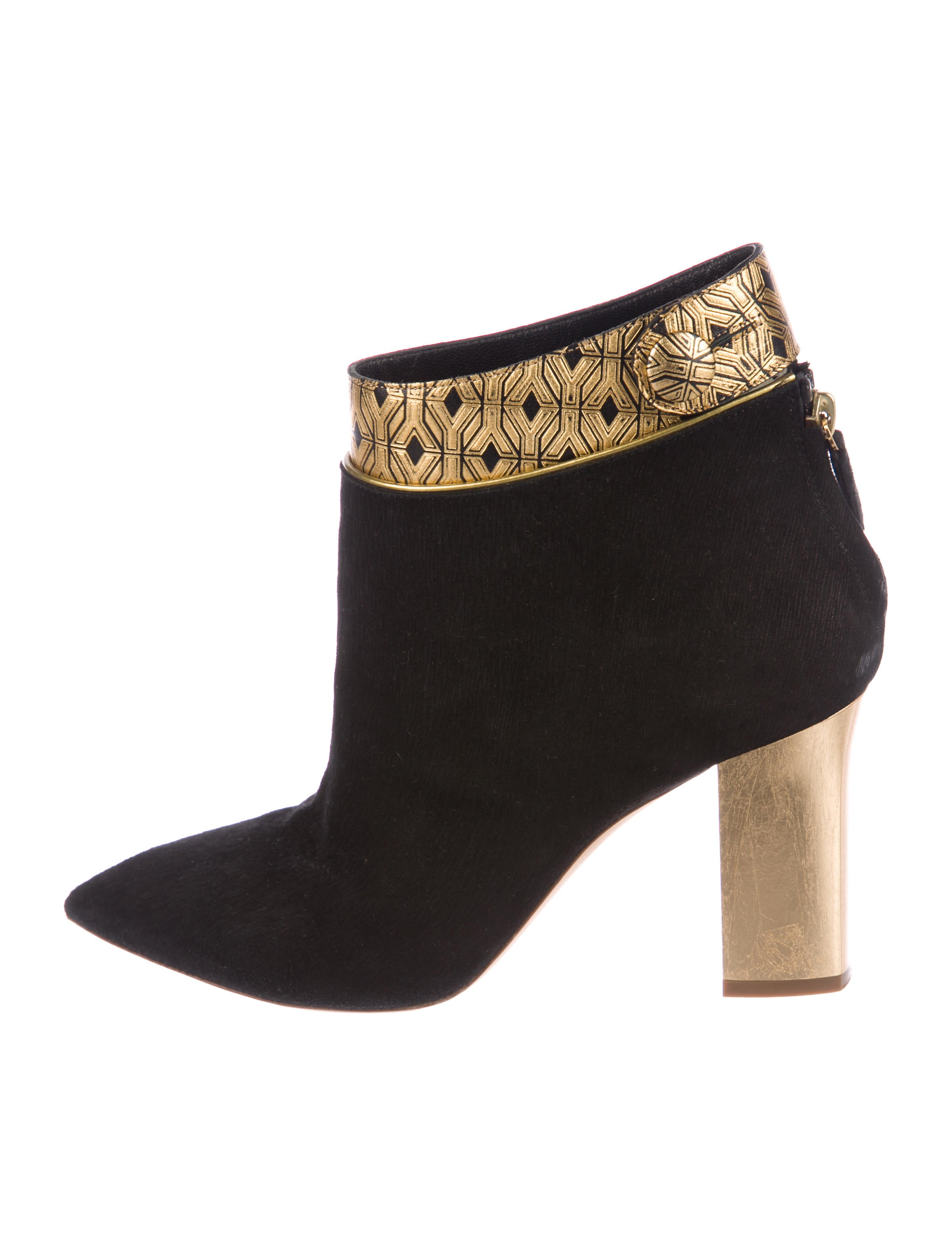 footlocker cheap price factory outlet cheap price Pollini Metallic Suede Ankle Booties sale new 7Bvhny31Yc