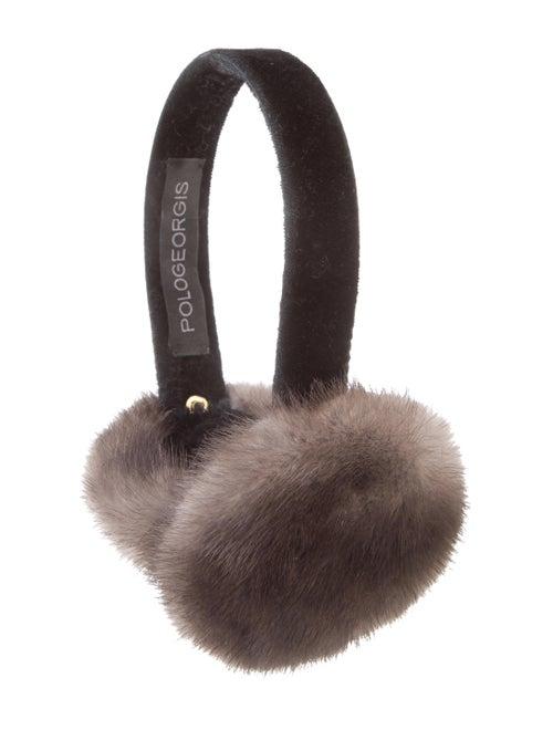 Pologeorgis Velvet Mink-Trimmed Earmuffs Black