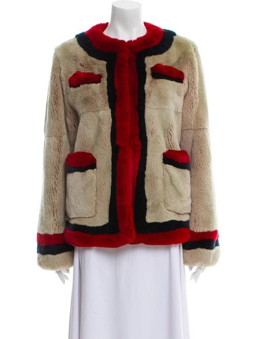 Pologeorgis Colorblock Pattern Fur Jacket - image 1