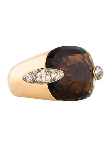 Pomellato 18K Smoky Quartz and Diamond Ring None