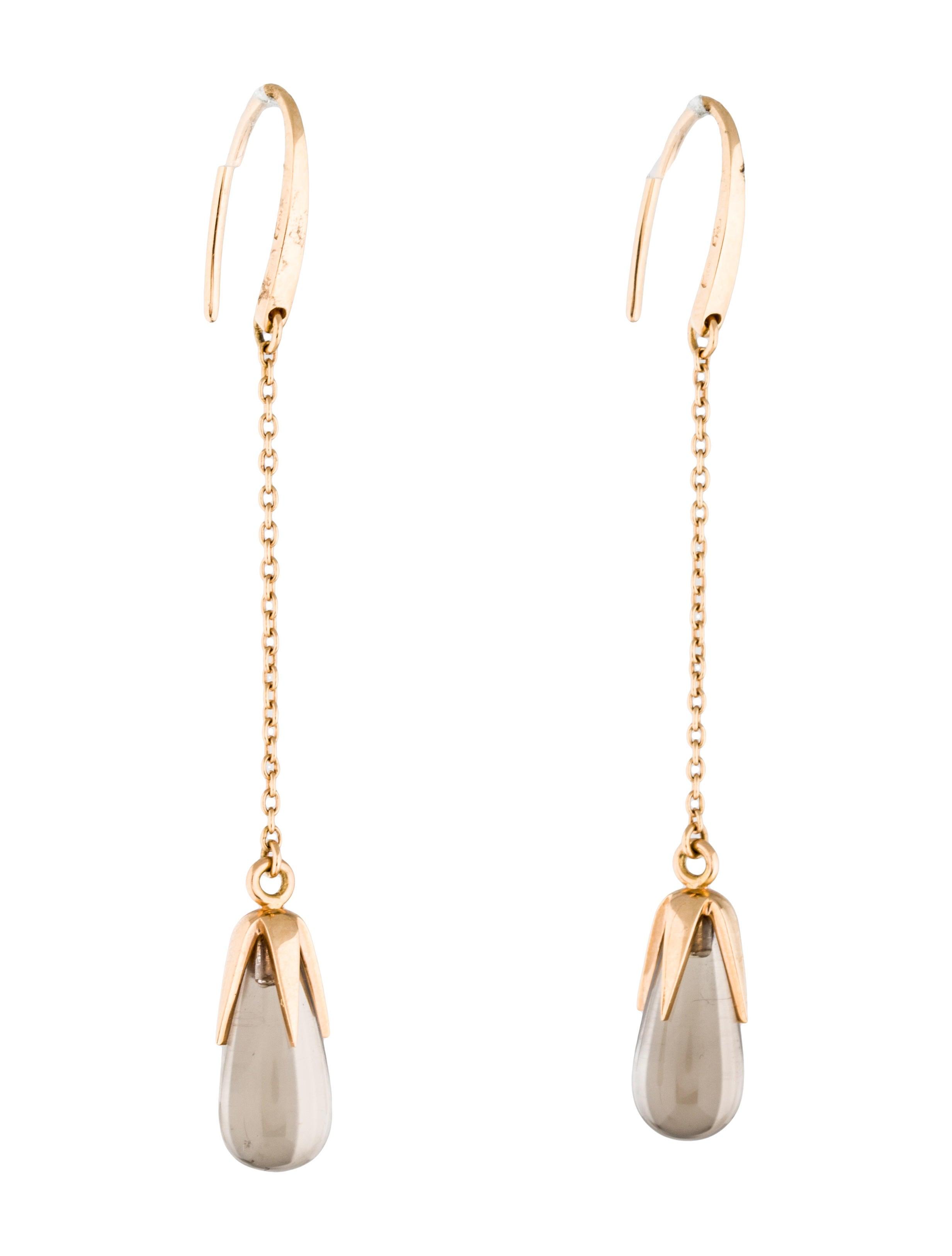 pomellato 18k rose gold smokey quartz drop earring. Black Bedroom Furniture Sets. Home Design Ideas