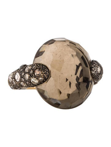Pomellato 18K Smoky Quartz & Diamond Tango Ring None