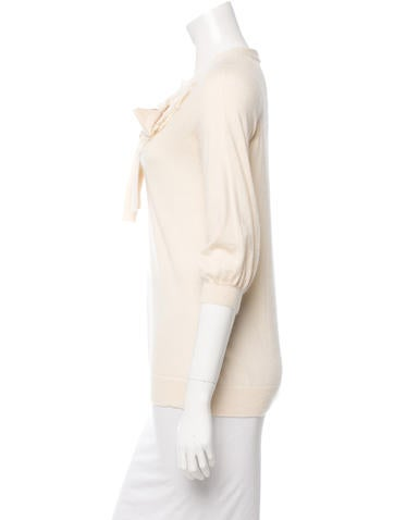 Three-Quarter Sleeve Cashmere Sweater