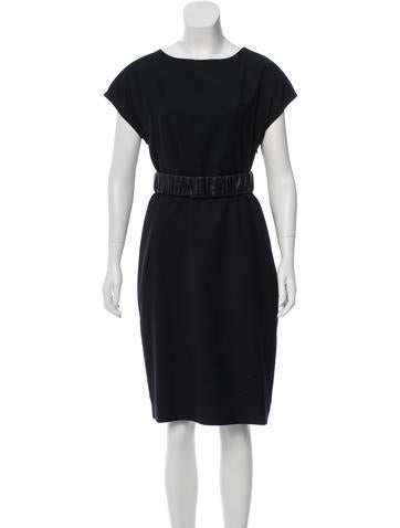 Ports 1961 Leather-Trimmed Wool Dress None