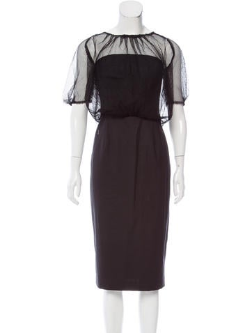 Ports 1961 Mesh-Accented Wool Dress None