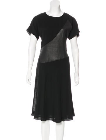 Ports 1961 Leather-Accented Wool Dress None
