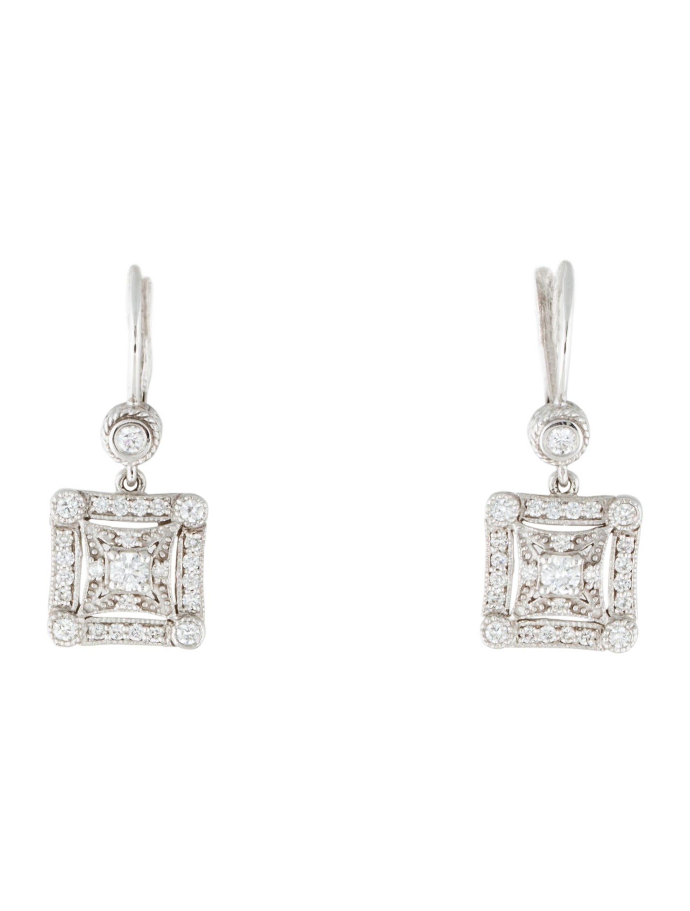 penny preville 18k square deco diamond drop earrings earrings ppv20139 the realreal. Black Bedroom Furniture Sets. Home Design Ideas