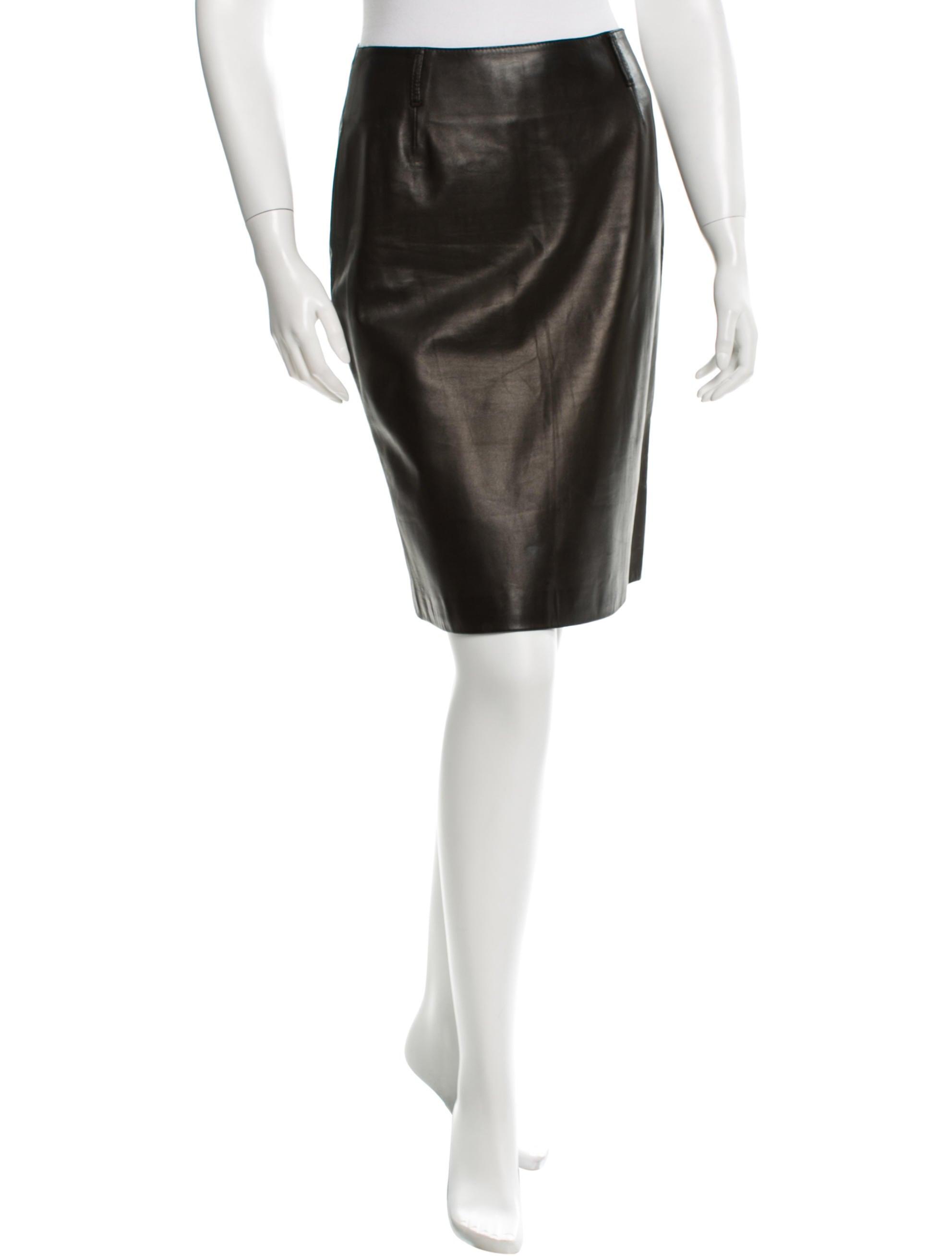 prada leather knee length skirt clothing pra100717