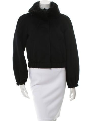 Prada Fur-Trimmed Wool & Angora-Blend Jacket w/ Tags None