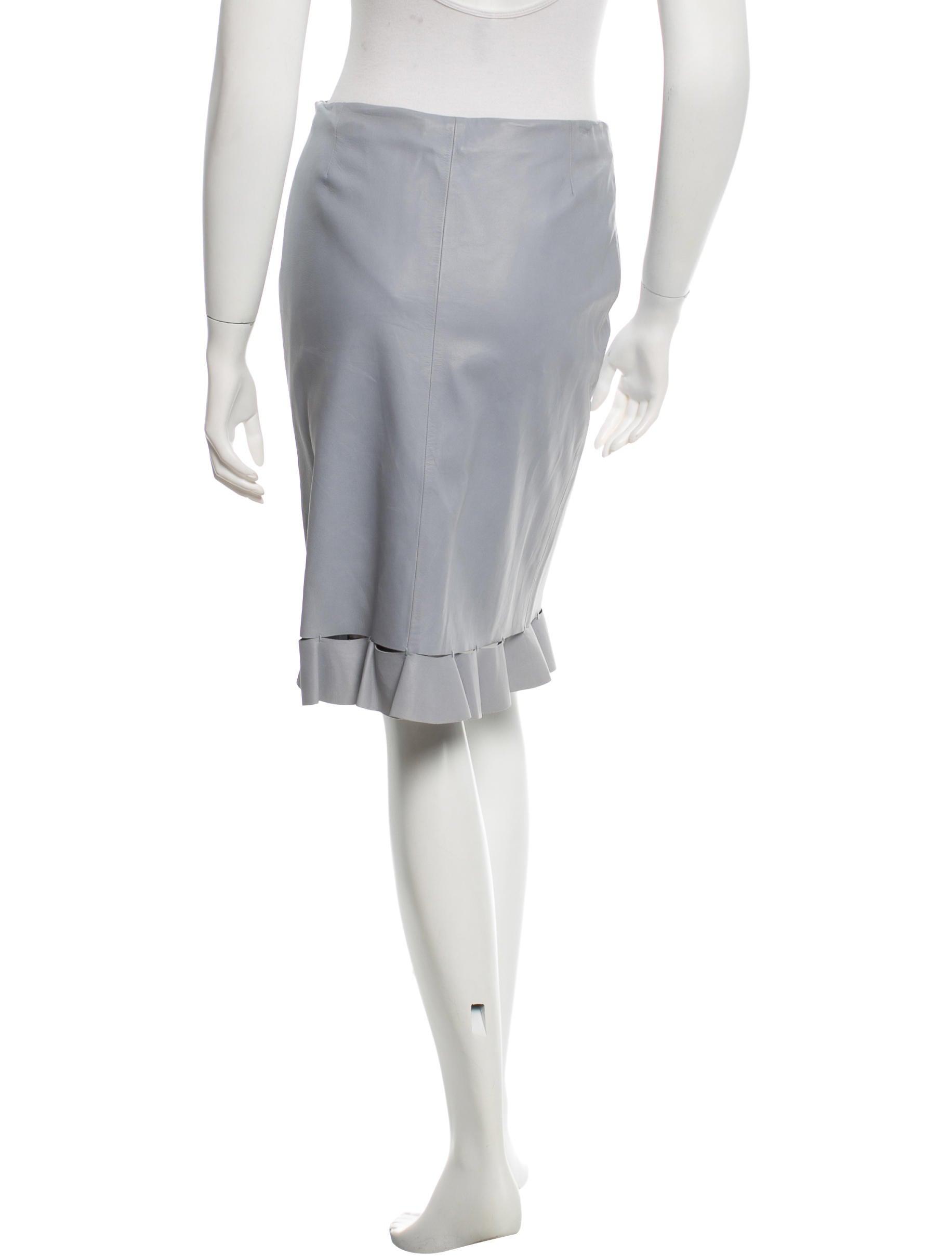 prada leather ruffle trimmed skirt clothing pra103264