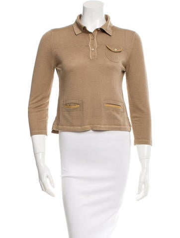 Prada Leather-Trimmed Wool Top None