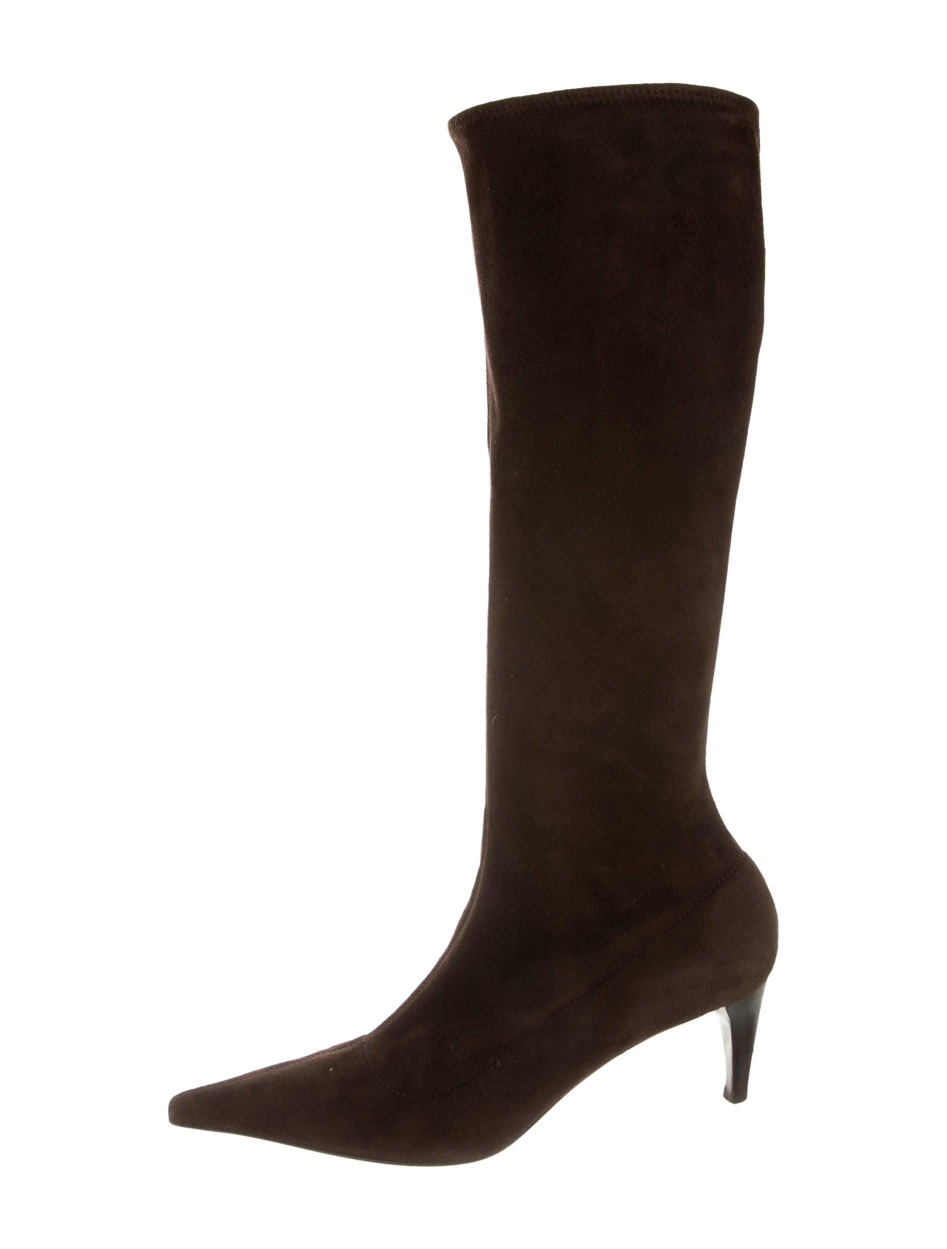 prada suede knee high boots shoes pra104956 the realreal