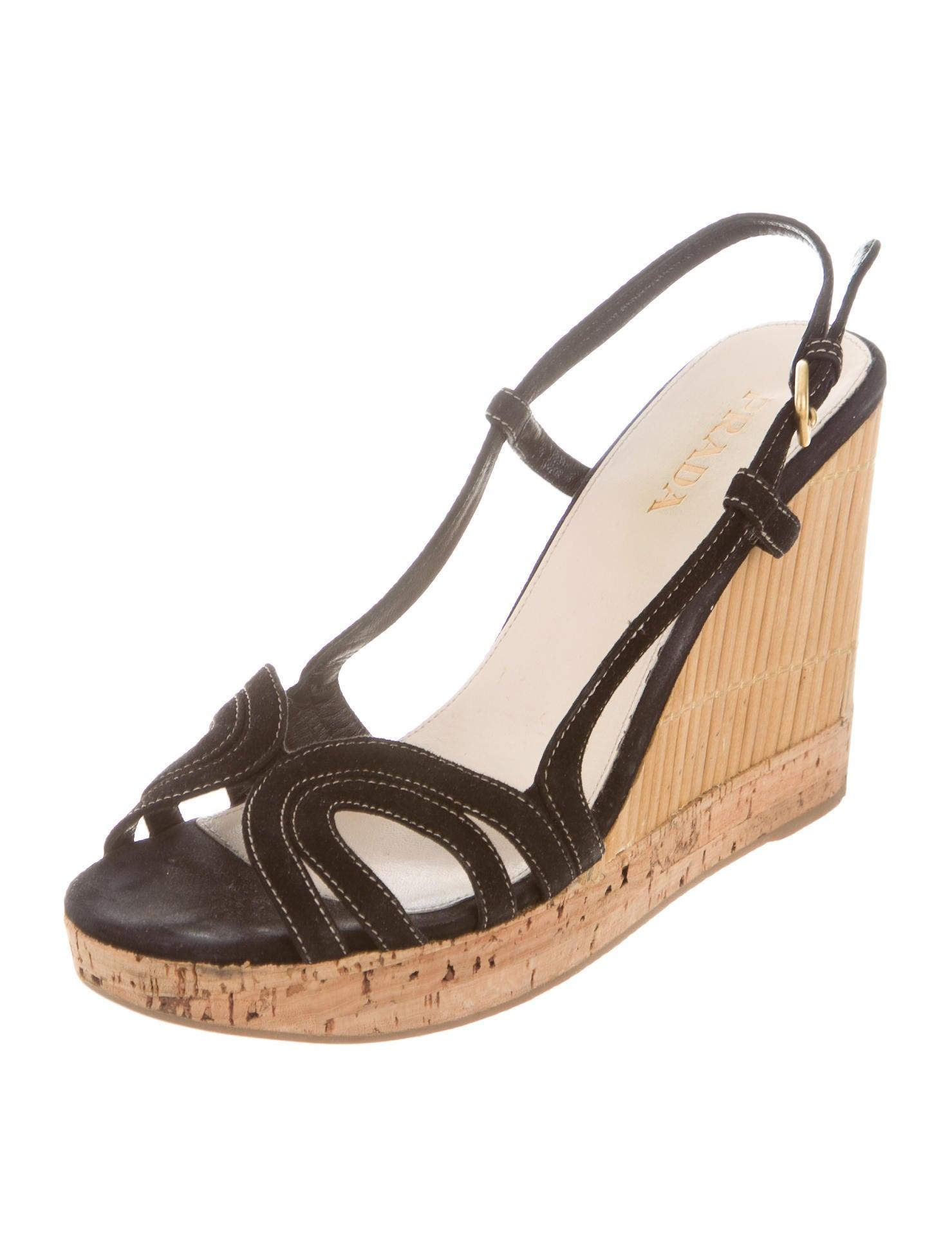 prada suede slingback wedges shoes pra105296 the
