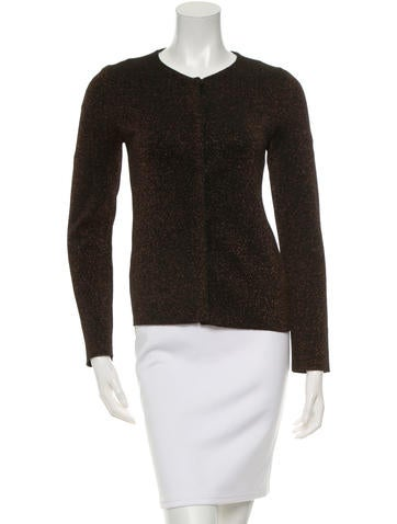 Prada Round Neck Metallic-Accented Cardigan None