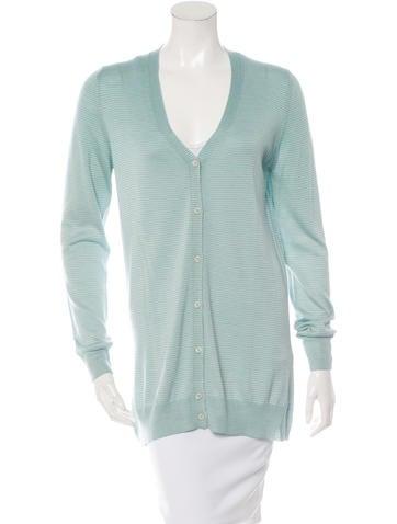 Prada Wool Silk-Blend Striped Cardigan None