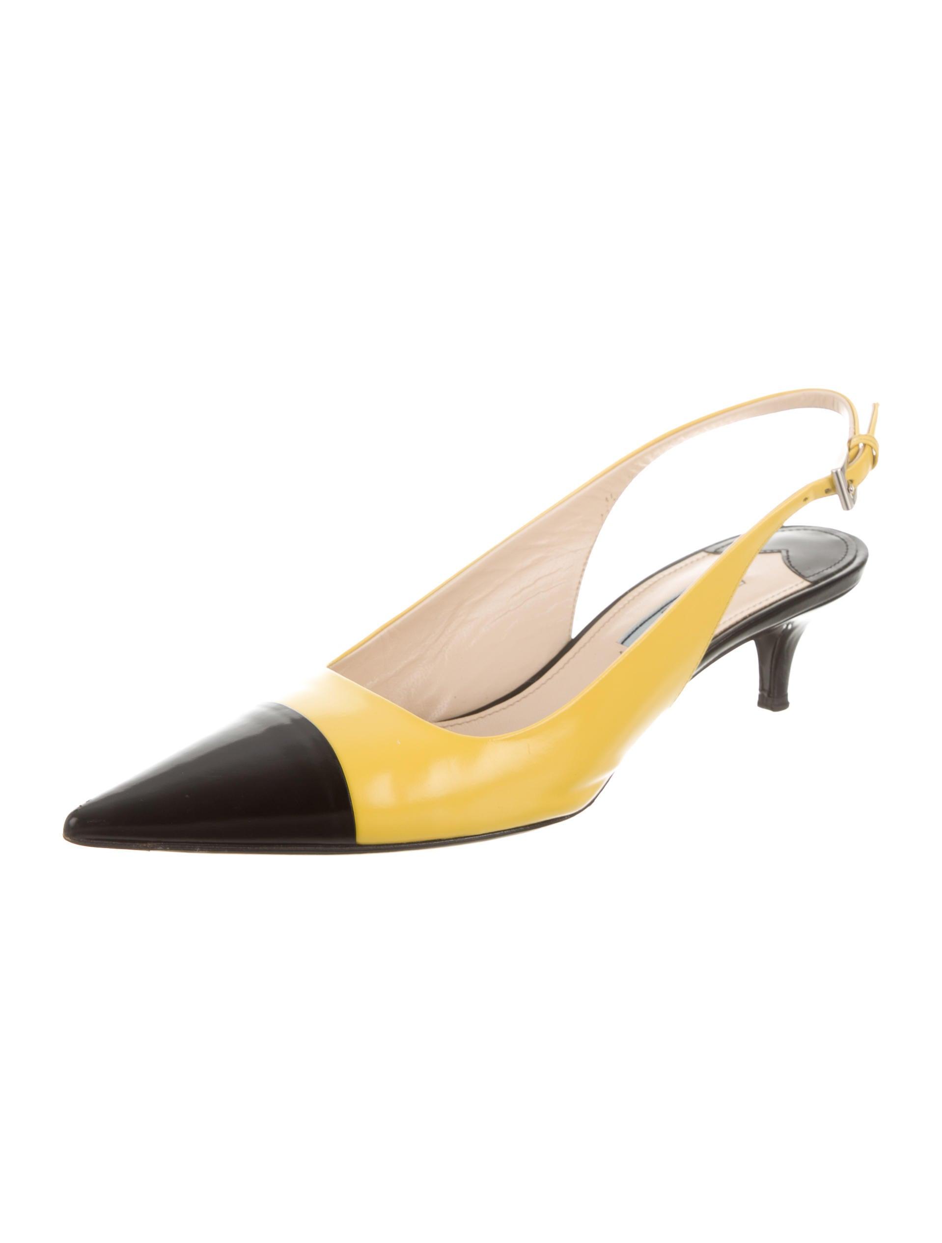 Prada Leather Slingback Cap Toe Pumps Shoes Pra108398