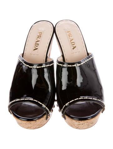 Patent Leather Peep-Toe Mules