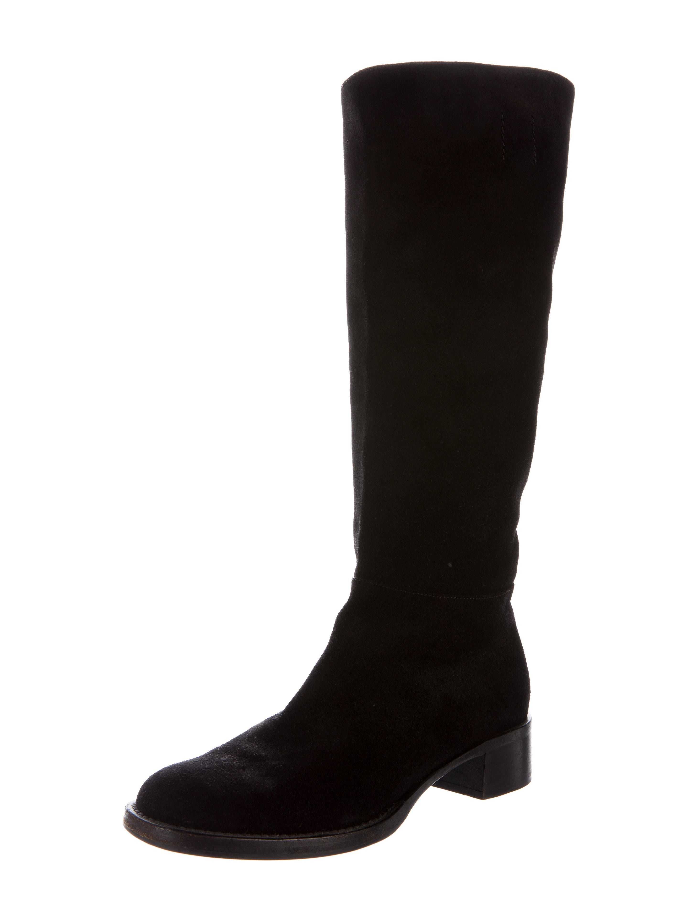 prada suede knee high boots shoes pra108981 the realreal