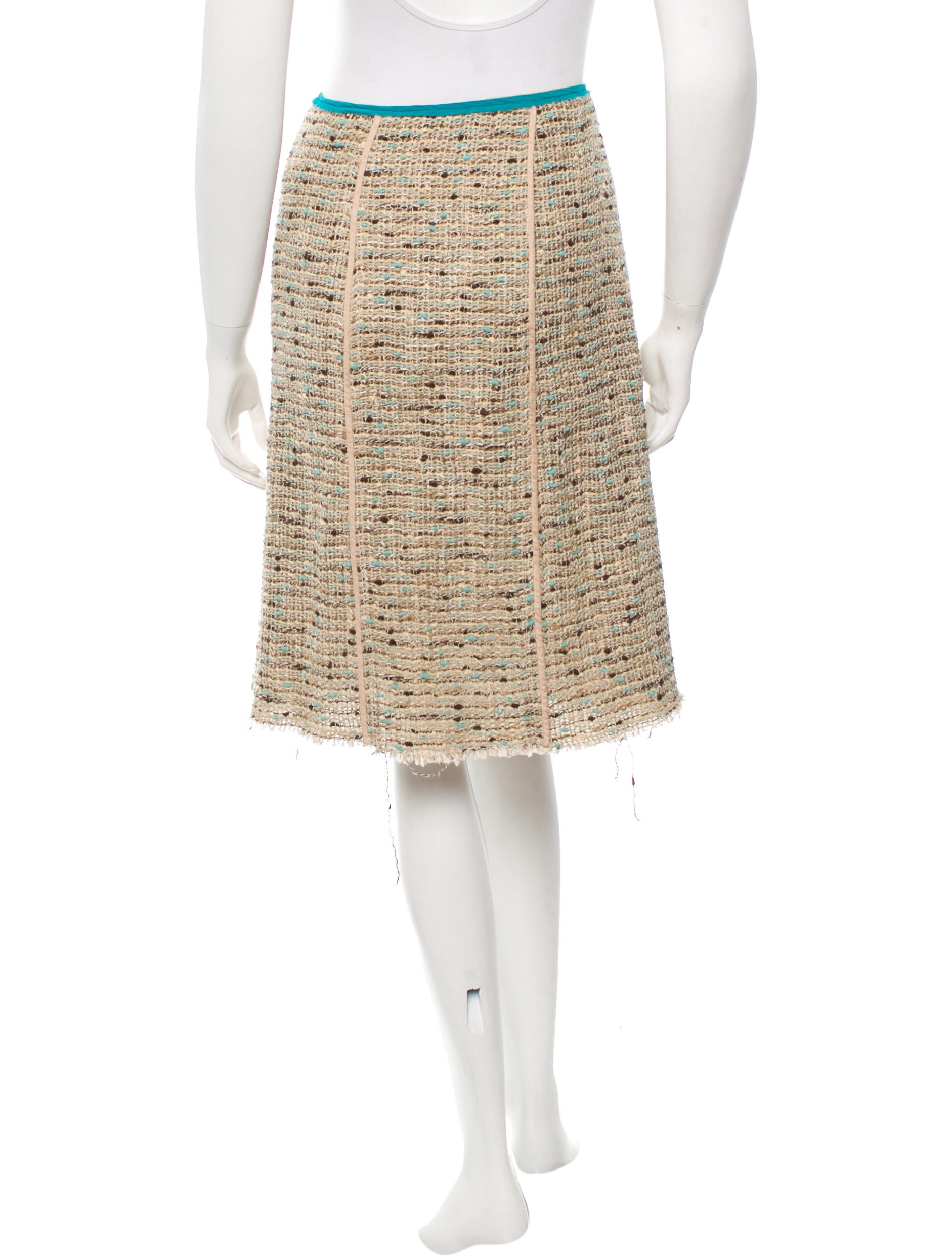 prada tweed a line skirt clothing pra109033 the realreal