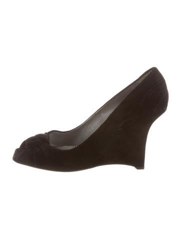 Prada Peep-Toe Suede Wedges None