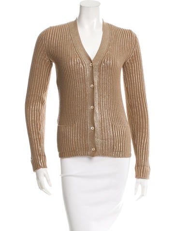 Prada Metallic Wool Cardigan None