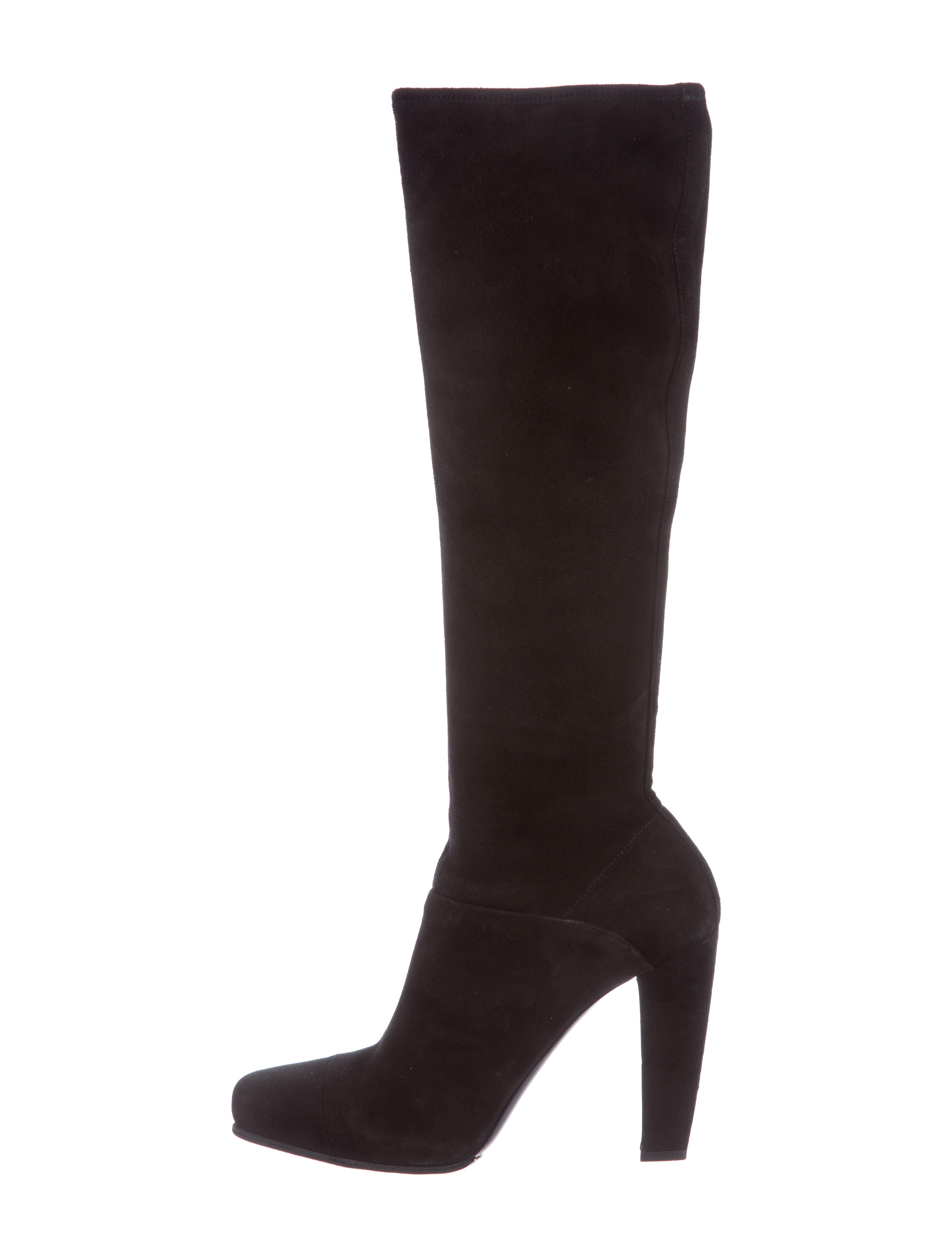 prada suede knee high boots shoes pra109554 the realreal