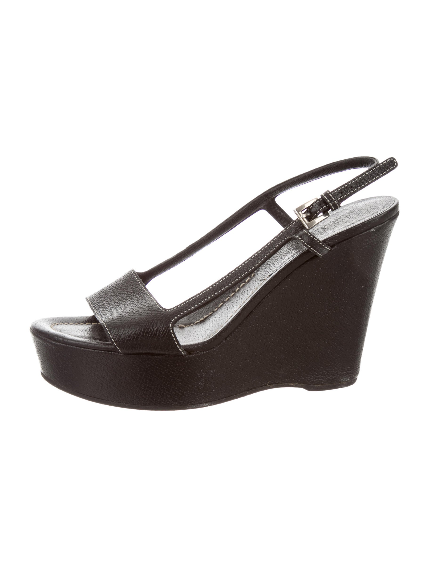 prada leather wedge sandals shoes pra109868 the realreal