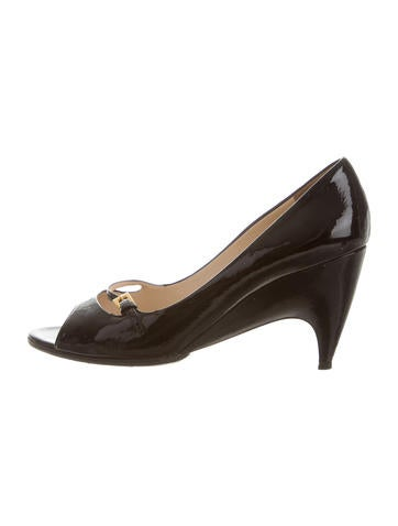 Prada Patent Heather Peep-Toe Wedges None