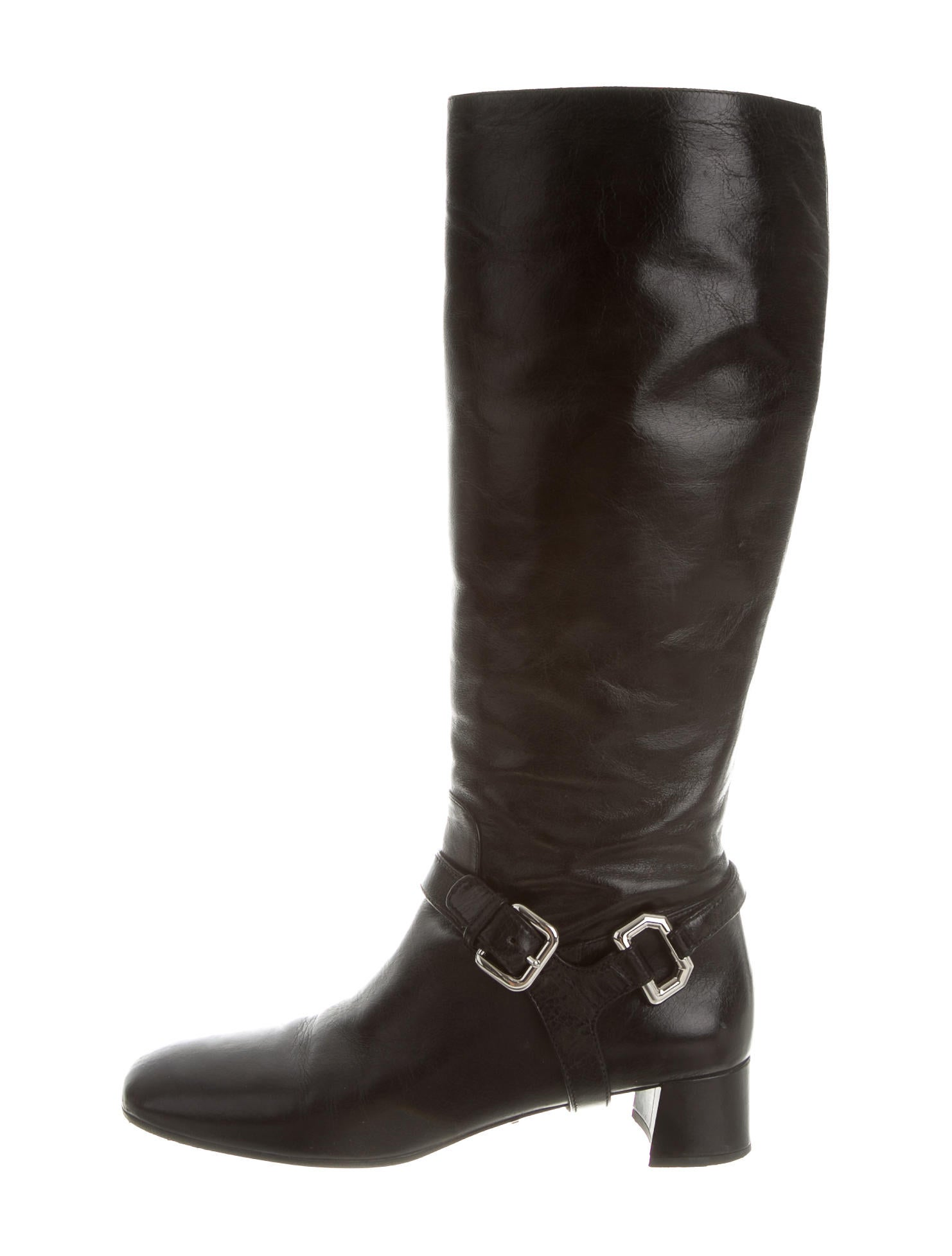 prada leather knee high boots shoes pra110021 the