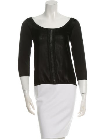 Prada Lace-Accented Scoop Neck Top None