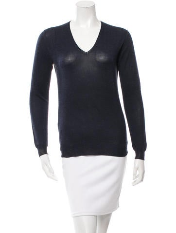 Prada V-Neck Long Sleeve Sweater None