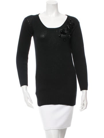 Prada Embellished Scoop Neck Sweater None