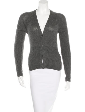 Prada Rib Knit Long Sleeve Cardigan None