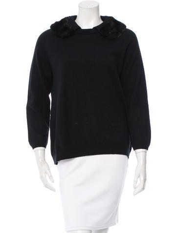 Prada Fur-Trimmed Long Sleeve Sweater None