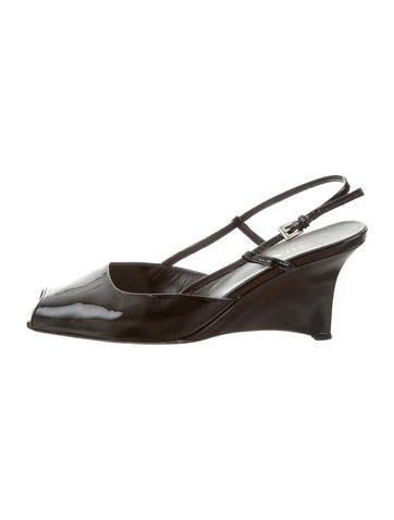 Prada Patent Leather Peep-Toe Wedges None