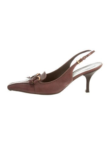 Prada Leather Pointed-Toe Pumps None