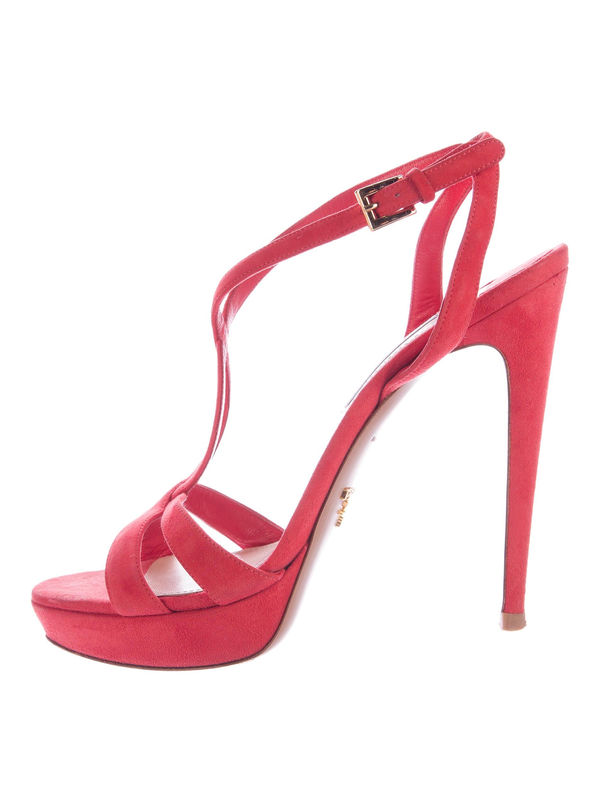 prada suede platform sandals shoes pra112114 the realreal. Black Bedroom Furniture Sets. Home Design Ideas