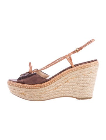Prada Espadrille Wedge Sandals None