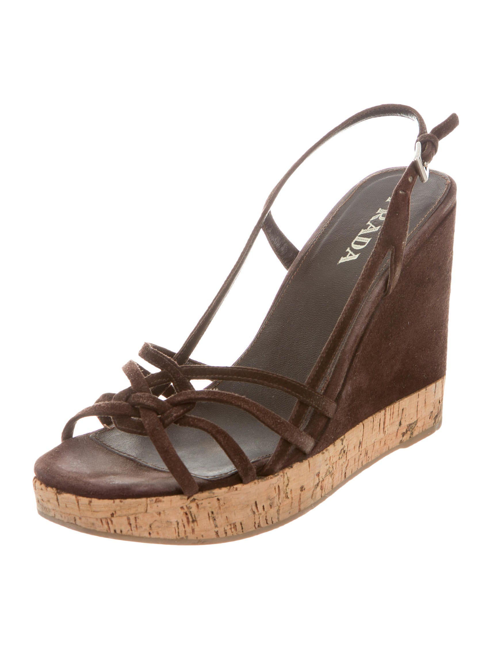 prada suede wedge sandals shoes pra113132 the realreal