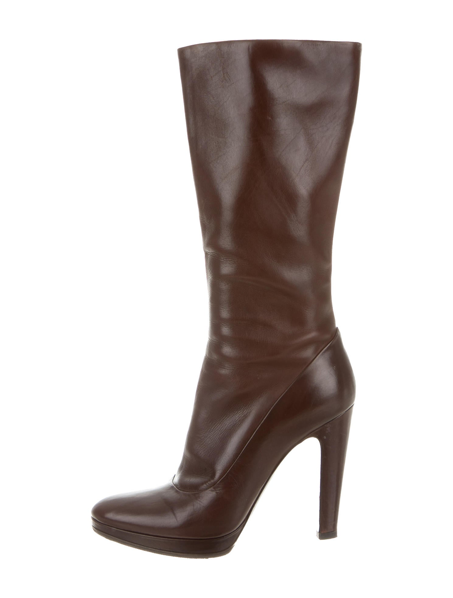 prada leather mid calf boots shoes pra113503 the