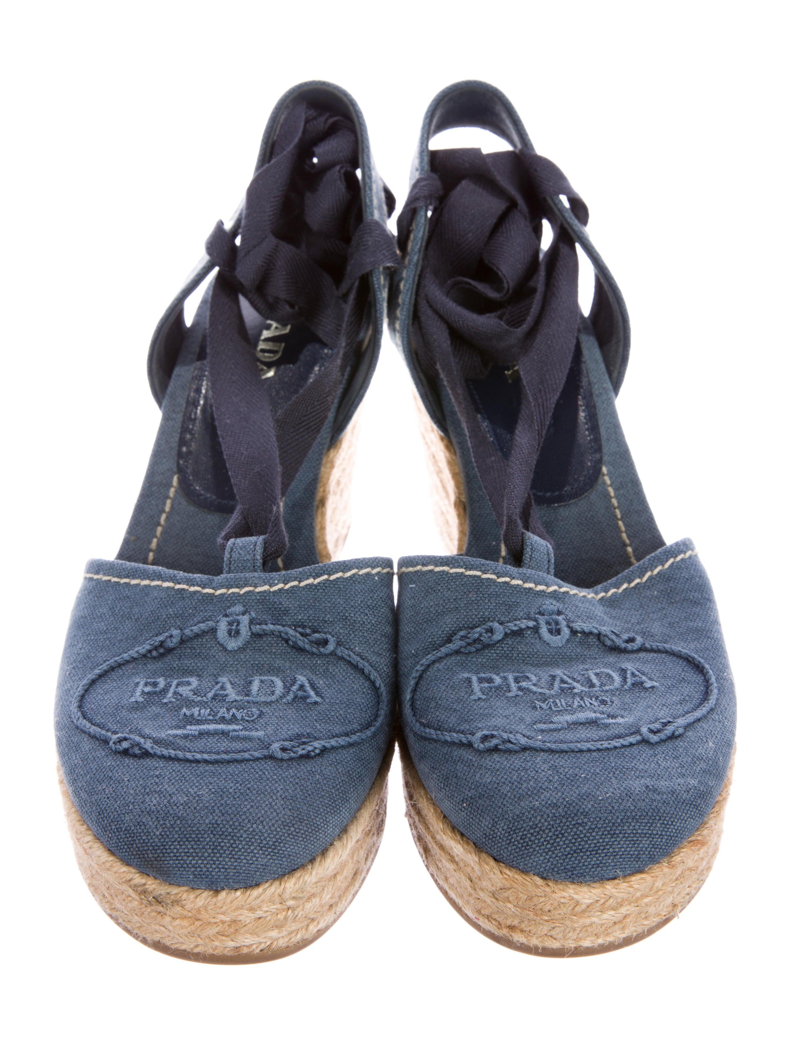 Prada Denim Espadrille Sandals - Shoes
