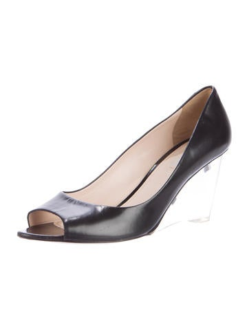 prada peep toe lucite wedges shoes pra113547 the