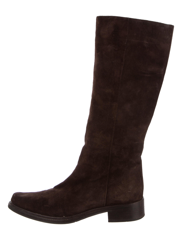 prada knee high suede boots shoes pra113631 the realreal