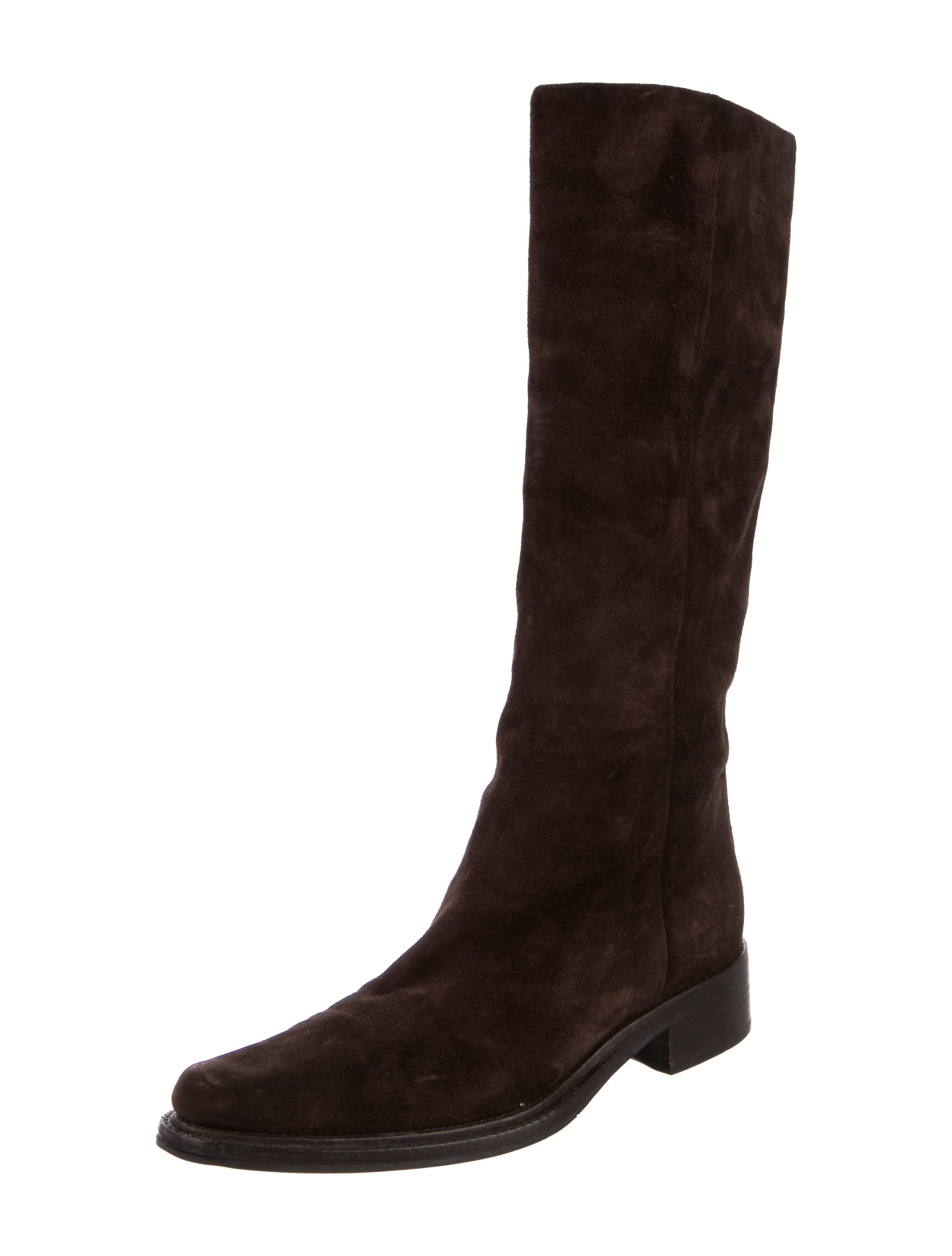 prada knee high suede boots shoes pra113631 the realreal