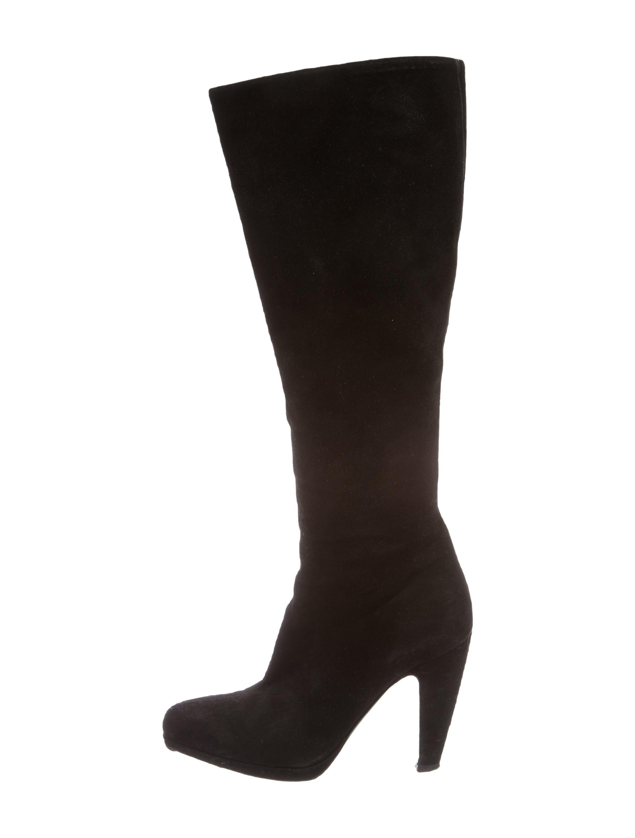 prada knee high suede boots shoes pra113697 the realreal