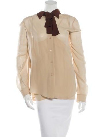 Prada Silk Colorblock Top None