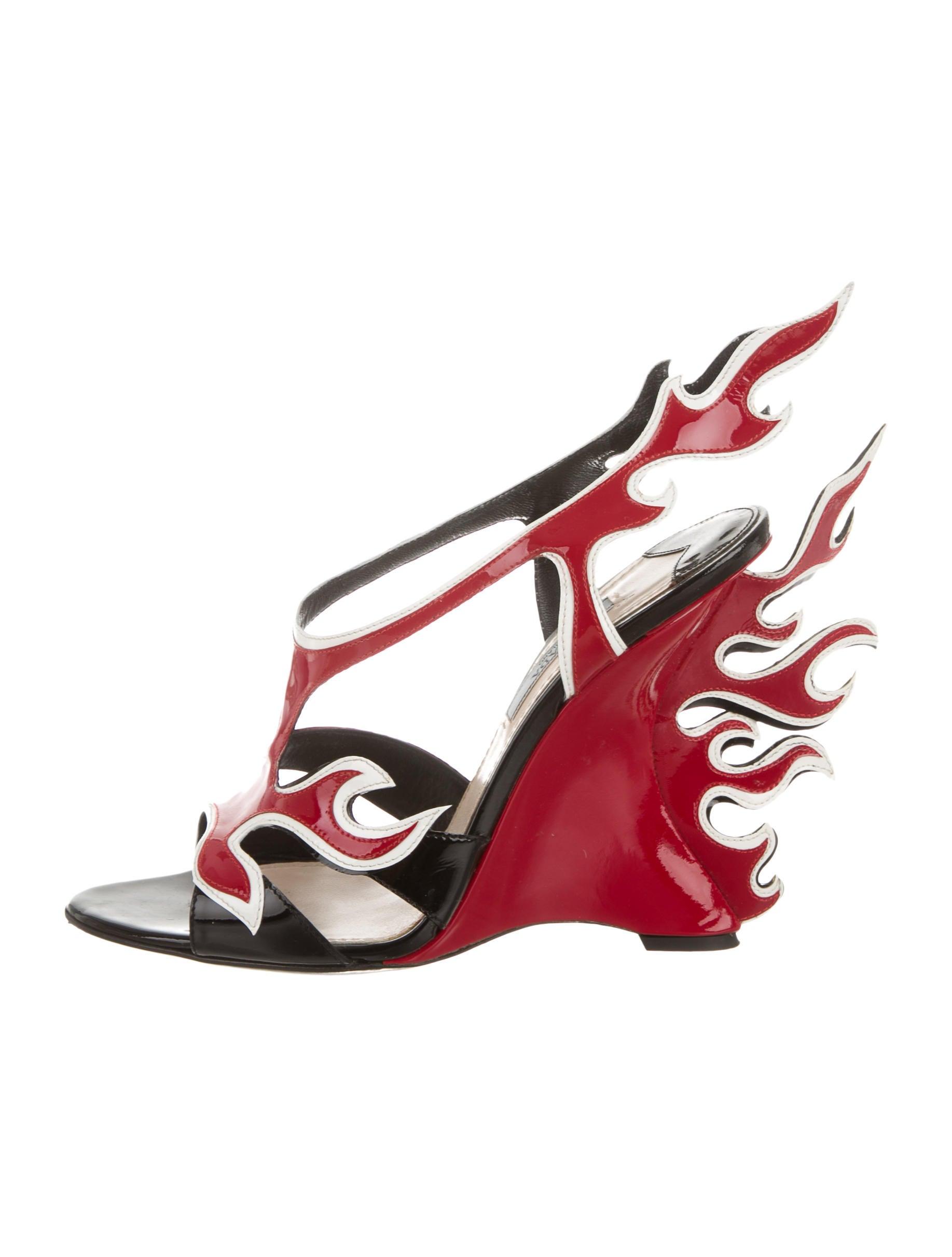 a3afb0be9da Prada Flame Wedge Sandals - Shoes - PRA113972